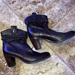 dark brown leather booties with brown wood heel